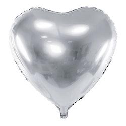 Folieballong, Hjärta, Silver