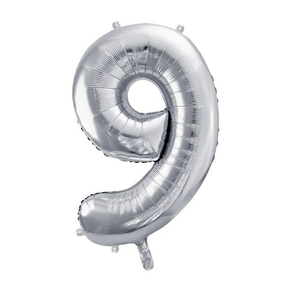 Sifferballong, stor, silver