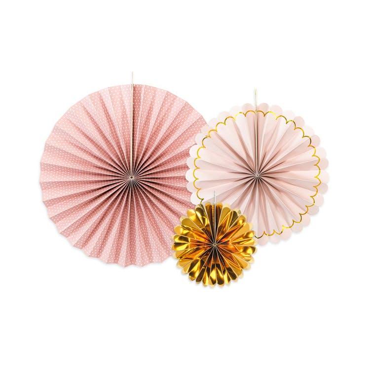 Pin Wheels rosa och guld, 3-pack