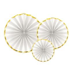 Pin Wheels vit och guld, 3-pack
