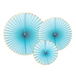 Pin Wheels ljusblå och guld, 3-pack