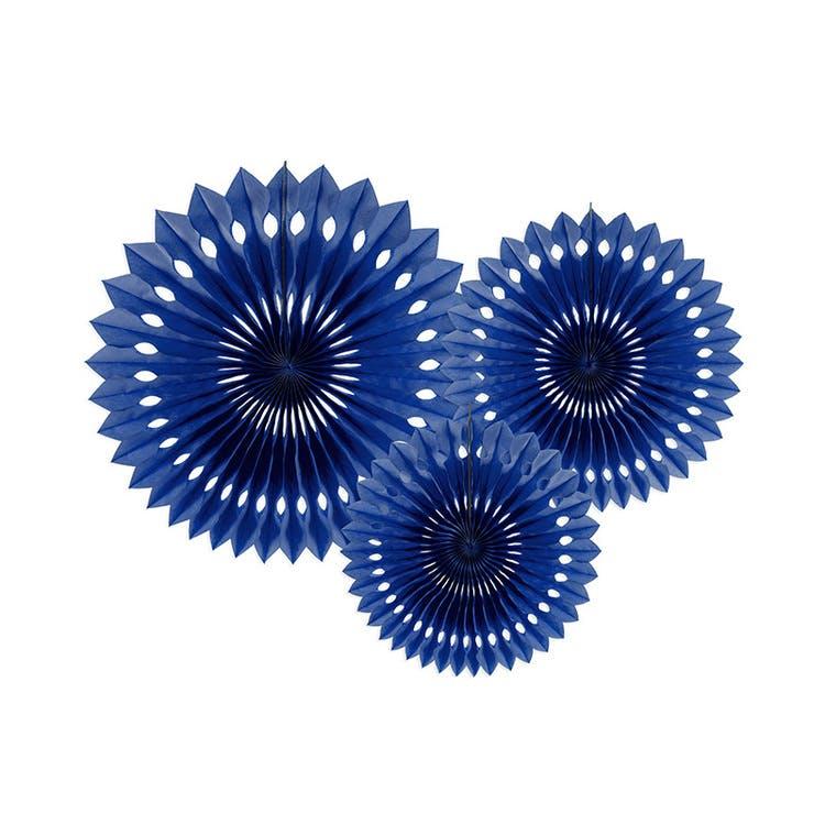 Tissue fan eller pin wheel i mörkblå och navy färg
