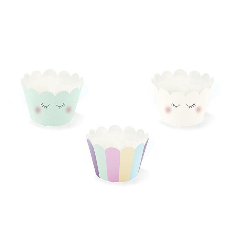 Cupcake wrappers pastellfärg med blinkande ögon