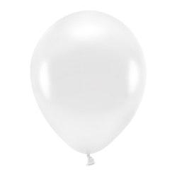 Ballong EKO, metallic vit, 10-pack