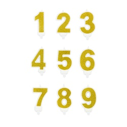 Tårtljus siffra, guld glitter