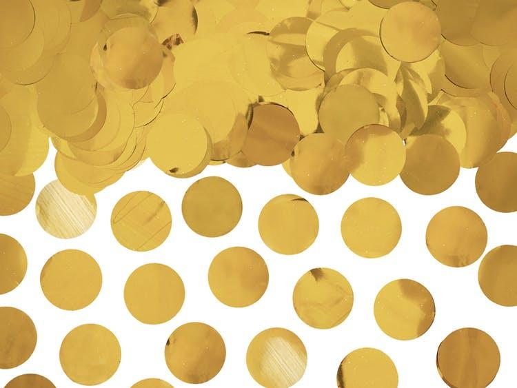 Konfetti, guld metallic, runda