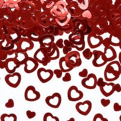 Konfetti, röda hjärtan, mix
