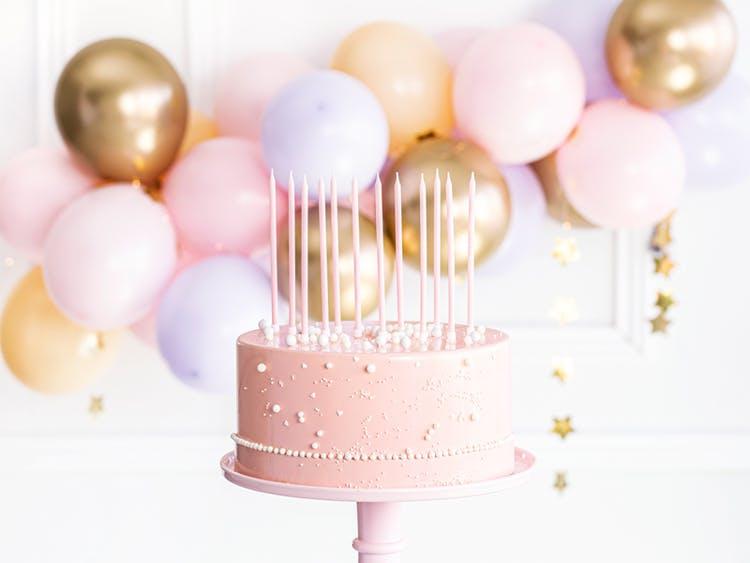 Tårtljus, rosa, 12-pack