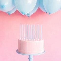 Tårtljus, ljusblåa, 12-pack