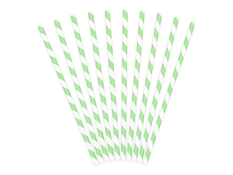 Pappsugrör, mintgrön, 10-pack
