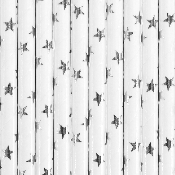 Pappsugrör, silverstjärnor, 10-pack