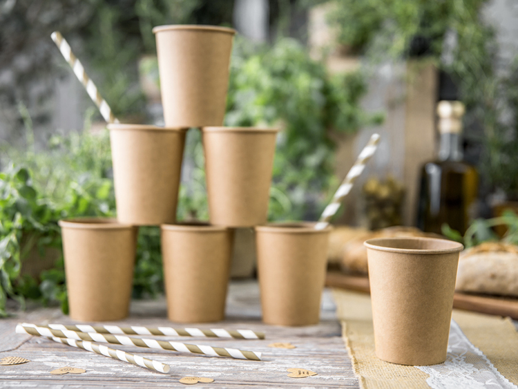 Pappmugg, natur, 6-pack