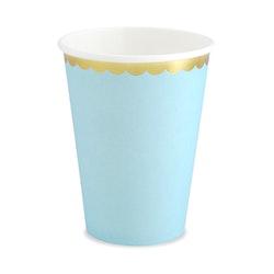 Pappmugg, ljusblå, 6-pack