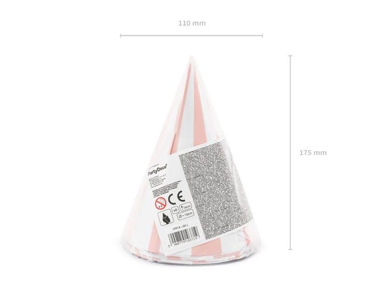 Partyhatt, randig rosa, 6-pack