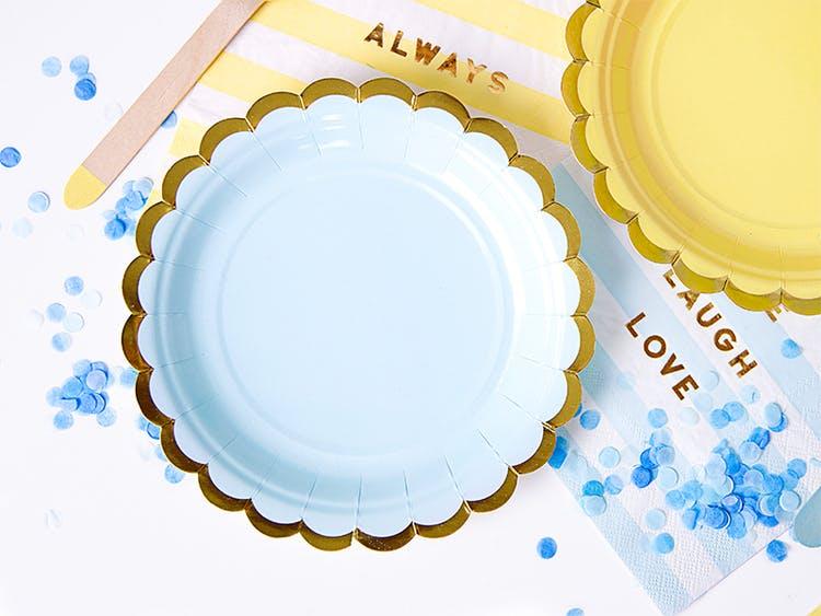 Papptallrik, ljusblå & guld, 6-pack