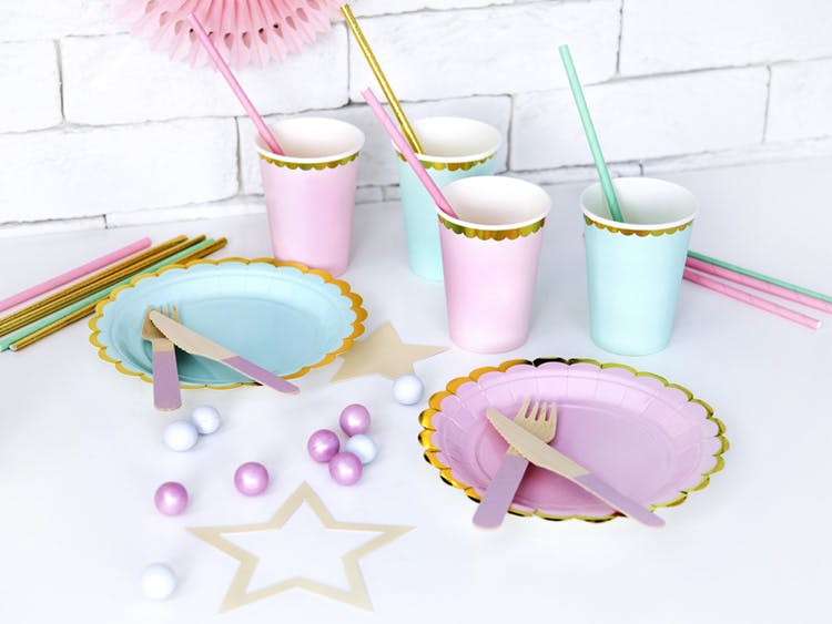 Papptallrik, rosa & guld, 6-pack
