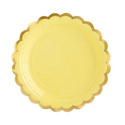 Papptallrik, gul & guld, 6-pack