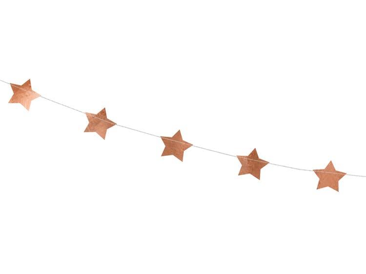 Girlang, stjärnor, roséguld
