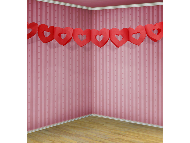 Girlang, röda hjärtan