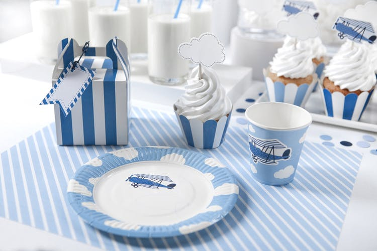 Cupcake wrappers, blårandig mix, 6-pack