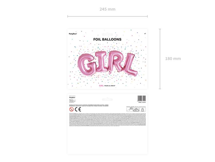 Folieballong, girl, rosa