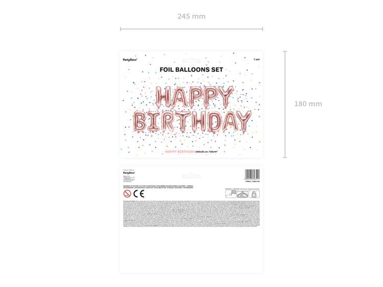 Folieballong, Happy Birthday, roséguld