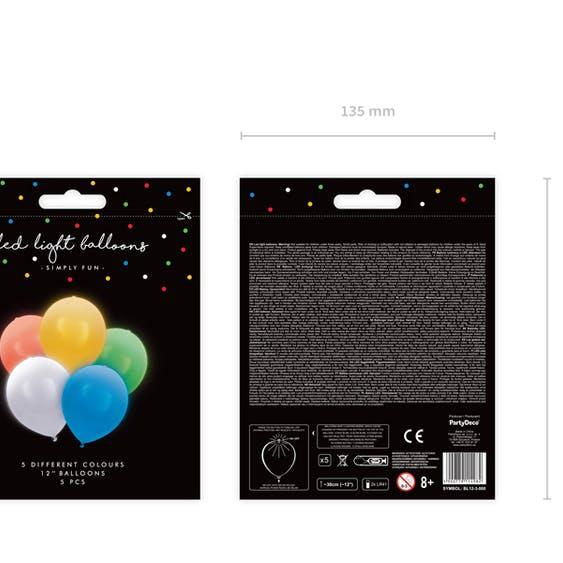 LED Ballong, färgmix, 5-pack