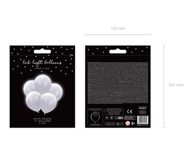LED Ballong, vit, 5-pack