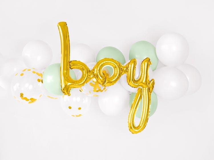 Folieballong, boy, guld