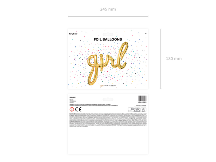 Folieballong, girl, guld