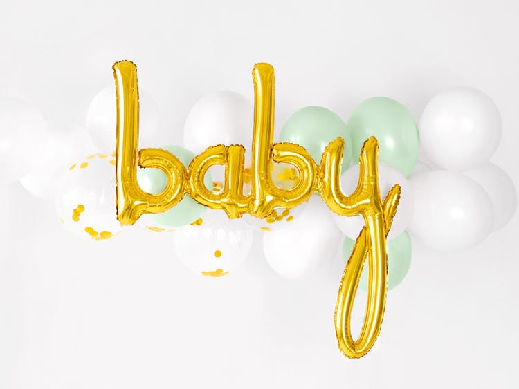 Folieballong, baby, guld