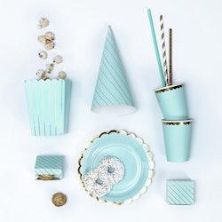 Popcornbox, blå-guld, 6-pack