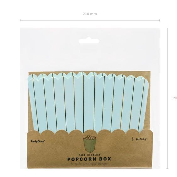 Popcornbox, blågrön-guld, 6-pack