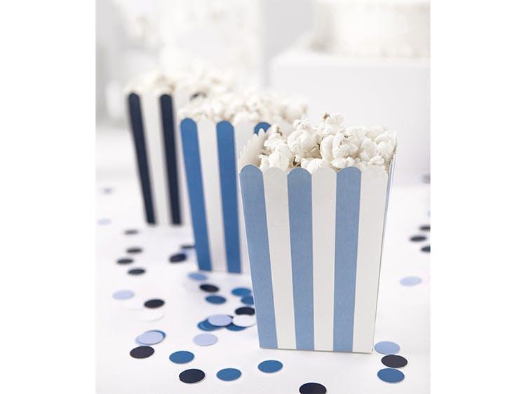 Popcornbox, blå randig, 6-pack
