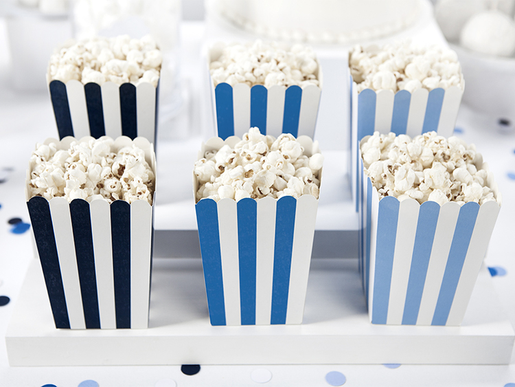 Popcornbox, blå randig, 6-pack
