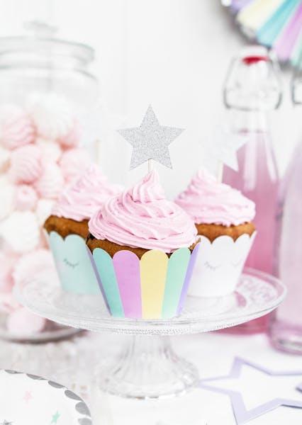Cake picks, silverstjärna, 6-pack