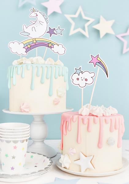 Cake topper, enhörning, 5-pack