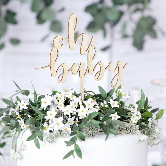 Cake topper, Oh baby, trä
