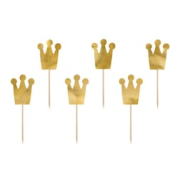 Cake picks, prinsesskrona, 6-pack