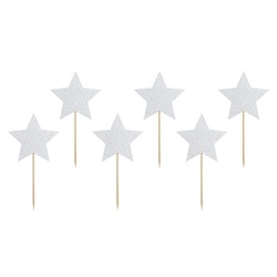 Cake picks, silverstjärna, 6-pack