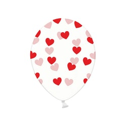 Ballong, hjärtan-transparent, 6-pack
