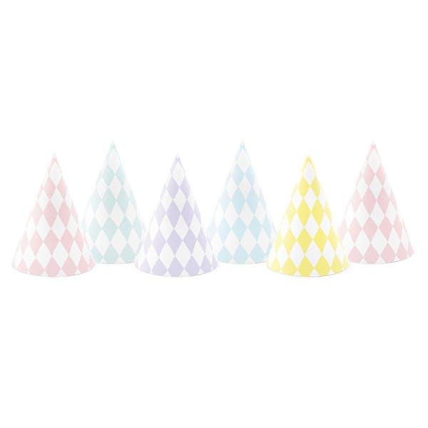 Partyhattar i pastellfärger