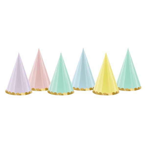 Partyhattar i pastell och guldfärg