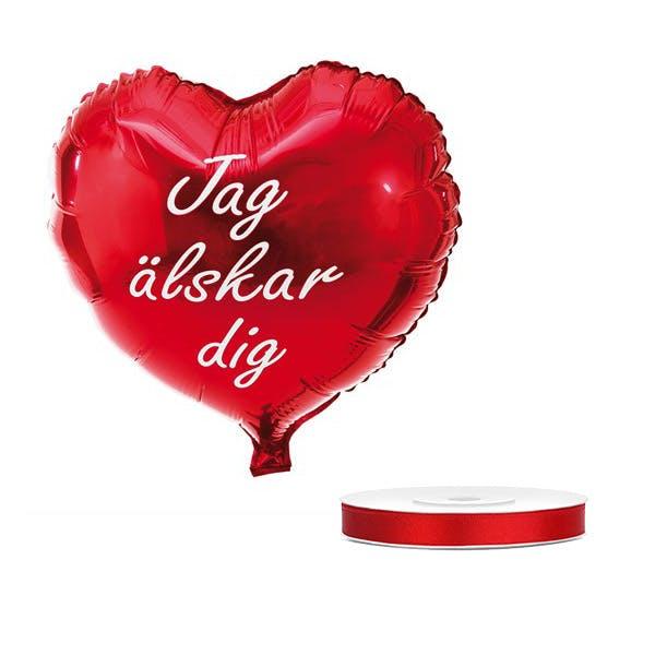 Folieballong, jag älskar dig, röd