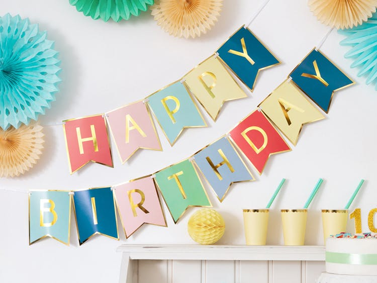 Vimpel, Happy Birthday, färgmix