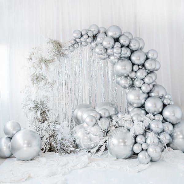Ballong, stor, silver