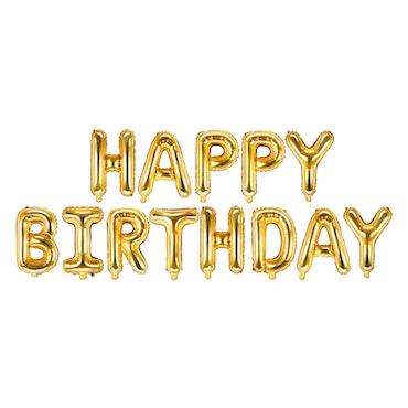 Folieballong, Happy Birthday, guld
