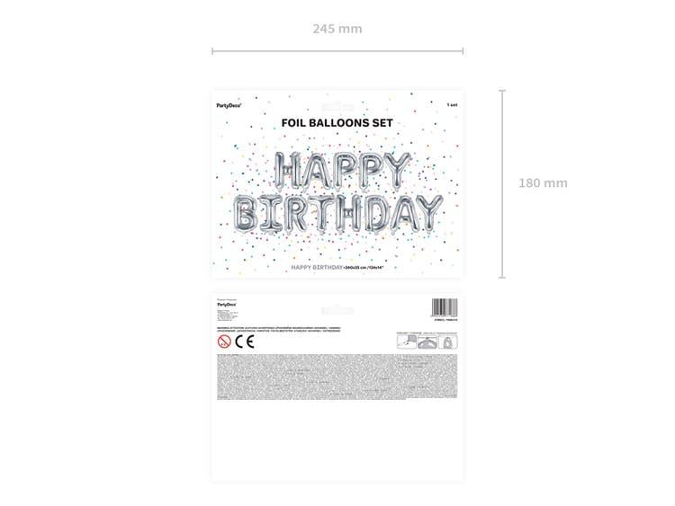 Folieballong, Happy Birthday, silver