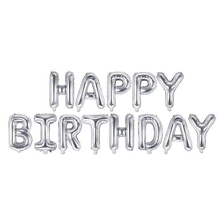 Happy birthday ballong silver