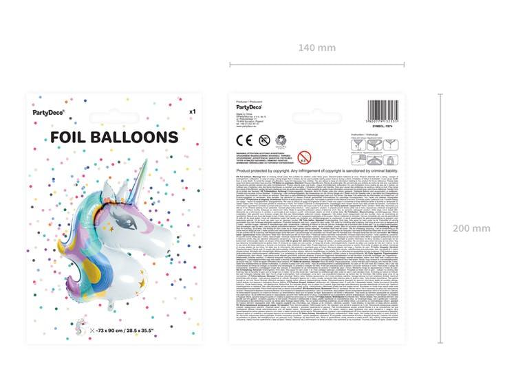 Folieballong, enhörningshuvud